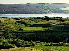 15th green from the tee with a view over the estuary beyond