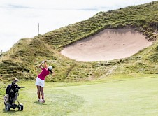 Cornwall's Eugenie Knight negotiating the Himalaya bunker on the 6th