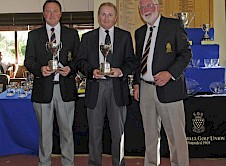 Royal Cornwall Goblets Winners Ian Veale & Andrew Clotworthy (Tehidy) with County President Malcolm Jones