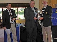 Pete Liddicoat (St Enodoc) winner of the Seniors and Founders Cups with (left) Peter Batty County Secretary and (right) County President Malcolm Jones