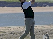 Mike Reynard (Trevose) on the 8th tee in the final 2nd round