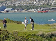 The 8th tee with the estuary in the background