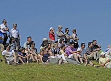 Spectators watching the action at the 8th