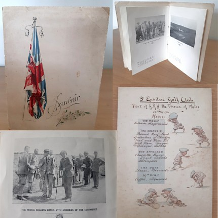 Memorabilia of the Prince of Wales visit to St Enodoc - donated to Club