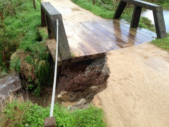 Weather damages bridge at the 5th